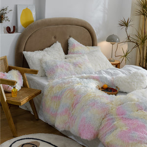 EXPRESS POST Newcastle Stock - Fluffy Velvet Fleece Quilt Cover and pillowcases - Pale Rainbow