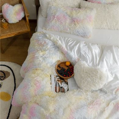 Fluffy Velvet Fleece Quilt Cover Bed Set (4/6/7 pcs) - Pale Rainbow