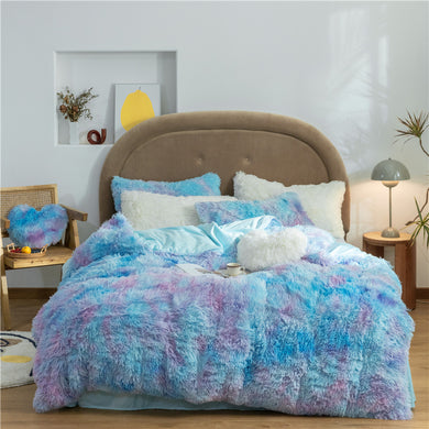 Fluffy Velvet Fleece Quilt Cover and pillowcases - Blue Purple Rainbow