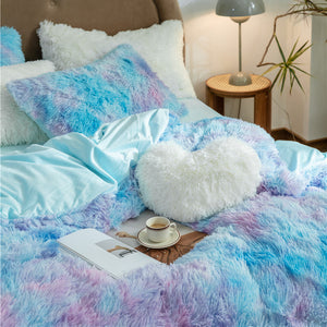 EXPRESS POST Newcastle Stock - Fluffy Velvet Fleece Quilt Cover and pillowcases - Blue Purple Rainbow