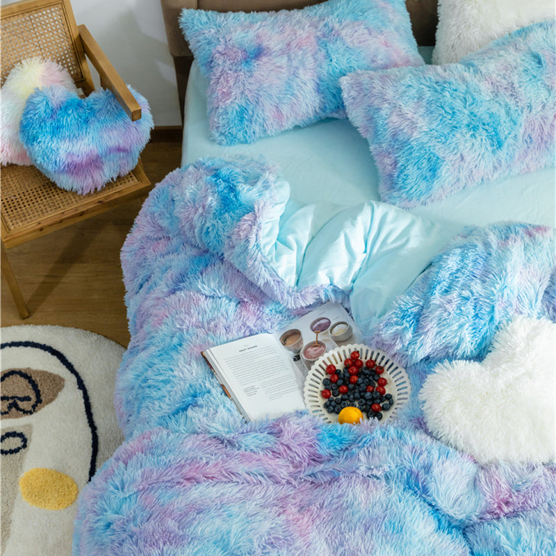 Fluffy Velvet Fleece Quilt Cover Bed Set (4/6/7 pcs) - Blue Purple Rainbow