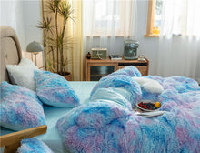 Load image into Gallery viewer, EXPRESS POST Newcastle Stock - Fluffy Velvet Fleece Quilt Cover and pillowcases - Blue Purple Rainbow