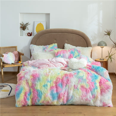 Fluffy Velvet Fleece Quilt Cover and pillowcases - Vivid Rainbow