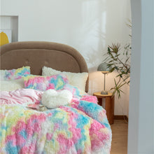 Load image into Gallery viewer, Fluffy Velvet Fleece Quilt Cover and pillowcases - Vivid Rainbow