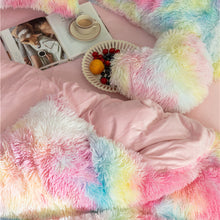 Load image into Gallery viewer, Fluffy Velvet Fleece Quilt Cover Bed Set (4/6/7 pcs) - Vivid Rainbow