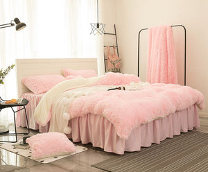 Fluffy Faux Lambswool Quilt Cover Only or with Pillowcases - Soft Pink