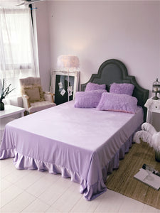 Fluffy Faux Lambswool Bed Set (4/6/7 pcs) - Violet