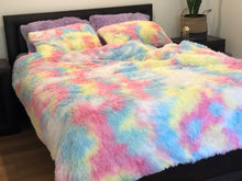 Load image into Gallery viewer, Fluffy Velvet Fleece Quilt Cover and pillowcases - Rainbow