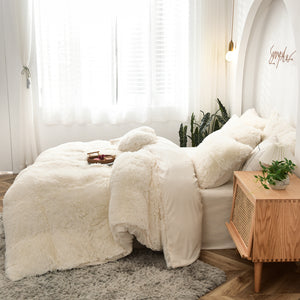 Fluffy Velvet Fleece Quilt Cover Bed Set (4/6/7 pcs) - Cream