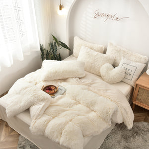 Fluffy Velvet Fleece Quilt Cover and pillowcases - Cream