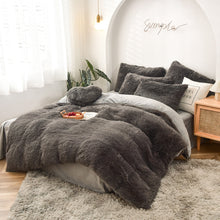 Load image into Gallery viewer, Fluffy Velvet Fleece Quilt Cover Bed Set (4/6/7 pcs) - Grey