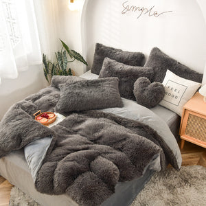 Fluffy Velvet Fleece Quilt Cover and pillowcases - Grey