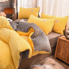 Load image into Gallery viewer, Soft Corduroy Velvet Fleece Quilt Cover Set - Yellow Grey