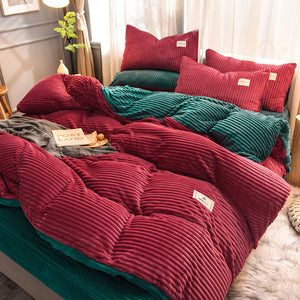 Soft Corduroy Velvet Fleece Quilt Cover Set - Green Rose Fantasy