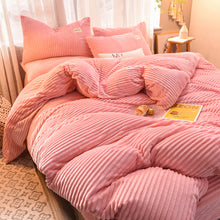 Load image into Gallery viewer, Soft Corduroy Velvet Fleece Quilt Cover Set - Soft Pink