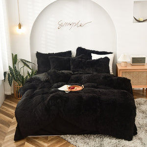 Fluffy Velvet Fleece Quilt Cover Bed Set (4/6/7 pcs) - Black