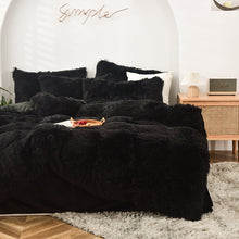 Load image into Gallery viewer, Fluffy Velvet Fleece Quilt Cover and pillowcases - Black