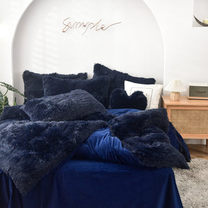 Fluffy Quilt Comforter and pillowcases - Navy