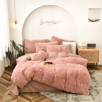 EXPRESS POST  Newcastle Stock - Fluffy Velvet Fleece Quilt Cover and pillowcases - Rose Gold