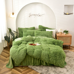 Fluffy Velvet Fleece Quilt Cover Bed Set (4/6/7 pcs) - Avocado