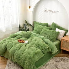 Load image into Gallery viewer, Fluffy Velvet Fleece Quilt Cover Bed Set (4/6/7 pcs) - Avocado