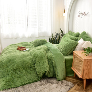 EXPRESS POST Newcastle Stock - Fluffy Velvet Fleece Quilt Cover and pillowcases - Avocado