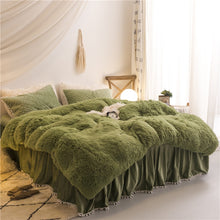 Load image into Gallery viewer, Fluffy Velvet Fleece Quilt Cover and Pillowcases Set - Army Green