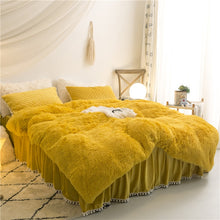 Load image into Gallery viewer, PomPom Fluffy Mink Fleece Bed Set - Gold Yellow