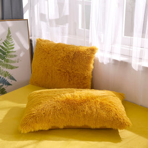 Fluffy Velvet Fleece Quilt Cover Bed Set (4/6/7 pcs) - Golden Yellow