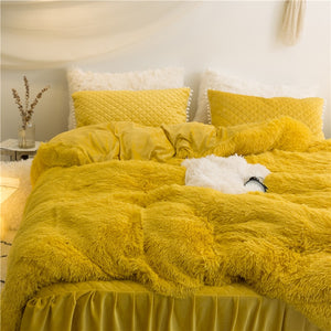 PomPom Fluffy Mink Fleece Bed Set - Gold Yellow