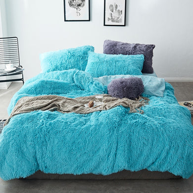 Fluffy Velvet Fleece Quilt Cover Bed Set (4/6/7 pcs) - Turquoise