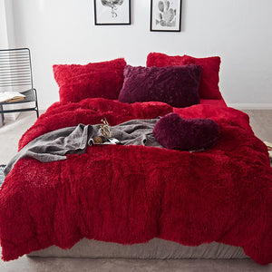 Fluffy Velvet Fleece Quilt Cover Bed Set (4/6/7 pcs) - Red