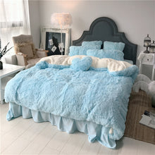 Load image into Gallery viewer, Fluffy Faux Lambswool Bed Set (4/6/7 pcs) - Soft Blue