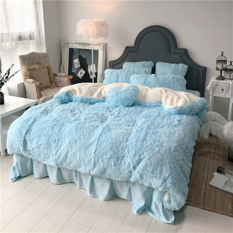 Fluffy Faux Lambswool Bed Set (4/6/7 pcs) - Soft Blue
