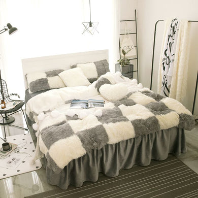 Fluffy Faux Lambswool Bed Set (4/6/7 pcs) - Grey Check