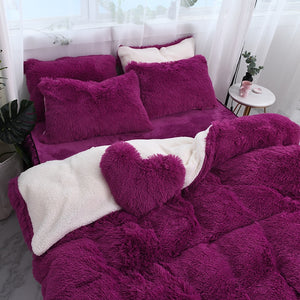 Fluffy Faux Lambswool Bed Set (4/6/7 pcs) - Deep Purple