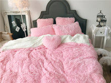 Load image into Gallery viewer, Fluffy Faux Lambswool Quilt Cover Only or with Pillowcases - Baby Pink