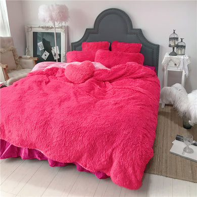 Fluffy Faux Lambswool Quilt Cover Only or with Pillowcases - Hot Pink