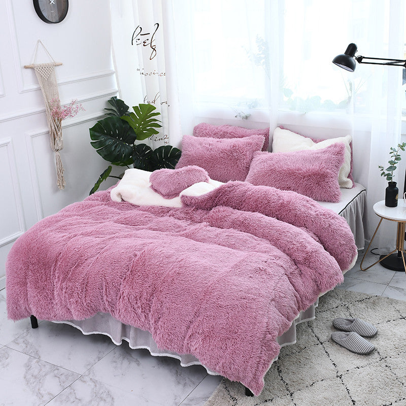 Fluffy Faux Lambswool Bed Set (4/6/7 pcs) - Pink Romance
