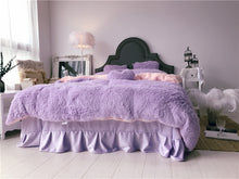 Load image into Gallery viewer, Fluffy Faux Lambswool Quilt Cover Only or with Pillowcases - Violet