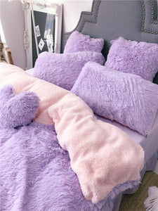 Fluffy Faux Lambswool Quilt Cover Only or with Pillowcases - Violet