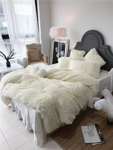 Fluffy Faux Lambswool Quilt Cover Only or with Pillowcases - Cream