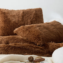 Load image into Gallery viewer, Fluffy Velvet Fleece Quilt Cover and pillowcases - Chocolate