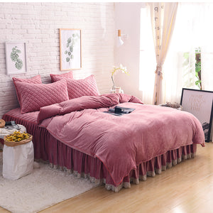 Crystal Velvet Lace Bed Set - 6 solid Colours