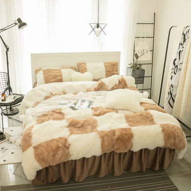 Fluffy Faux Lambswool Quilt Cover Only or with Pillowcases - Checked Camel