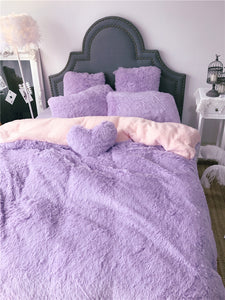 Newcastle Stock - Fluffy Faux Lambswool Quilt Cover and  Pillowcases - Violet