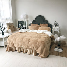 Load image into Gallery viewer, Fluffy Faux Lambswool Quilt Cover Only or with Pillowcases - Camel