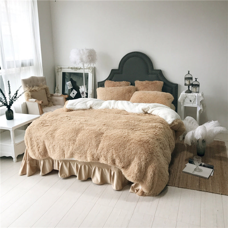 Fluffy Faux Lambswool Quilt Cover Only or with Pillowcases - Camel