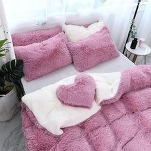 Load image into Gallery viewer, Fluffy Faux Lambswool Bed Set (4/6/7 pcs) - Pink Romance