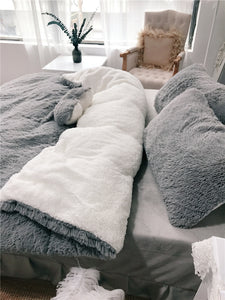 Fluffy Lambswool Quilt Cover Only or with Pillowcases - Grey